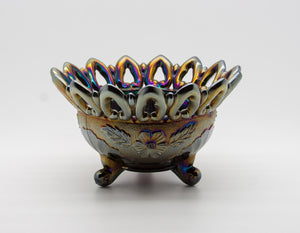 NORTHWOOD Carnival Glass Purple Amethyst WILD ROSE Three-footed Nut Bowl - Mollaris.com