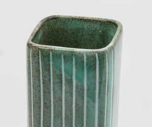 JACOB BANG Hegnetslund Square Green Striped Ceramic Vase - Mollaris.com