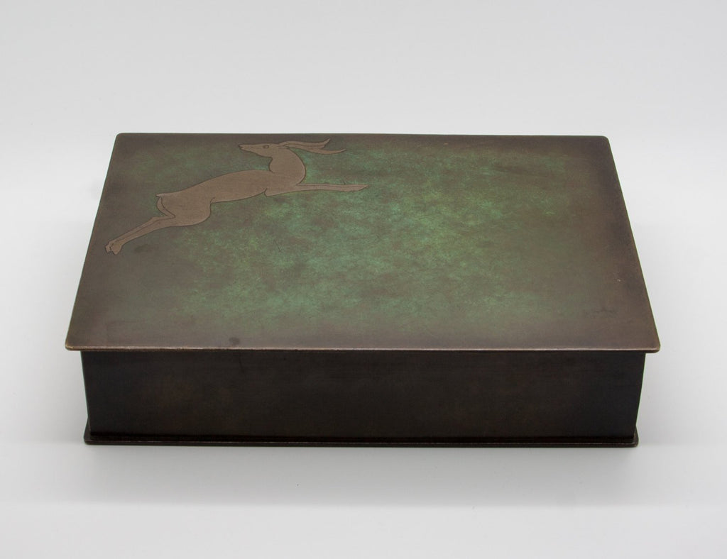 Modernist Brass Inlaid Deer Bronze Cigar Box - Mollaris.com