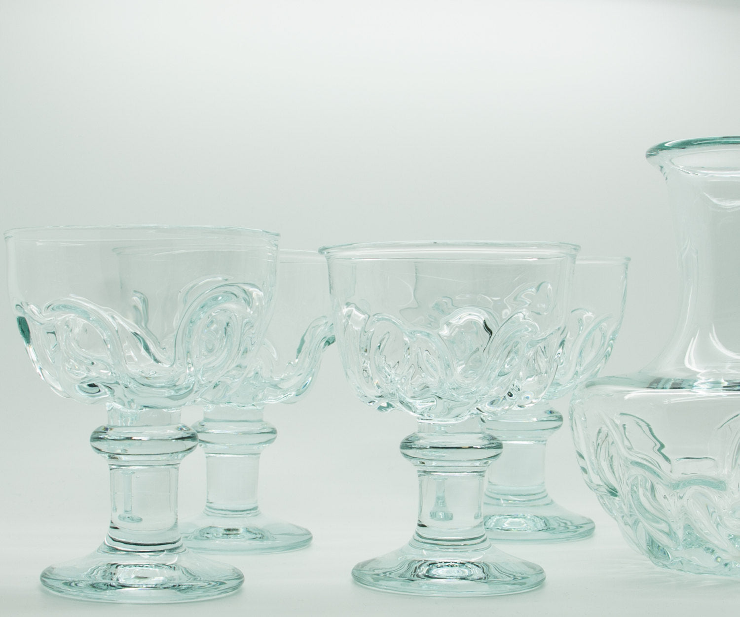 Holmegaard 150th Anniversary BANQUET Set Decanter + 4 Wine Crystal Glass Goblets - Mollaris.com