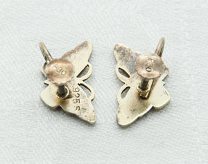Modernist Blue Enamel Butterfly Screw-back Solid Sterling Silver (925S) Earrings - Mollaris.com