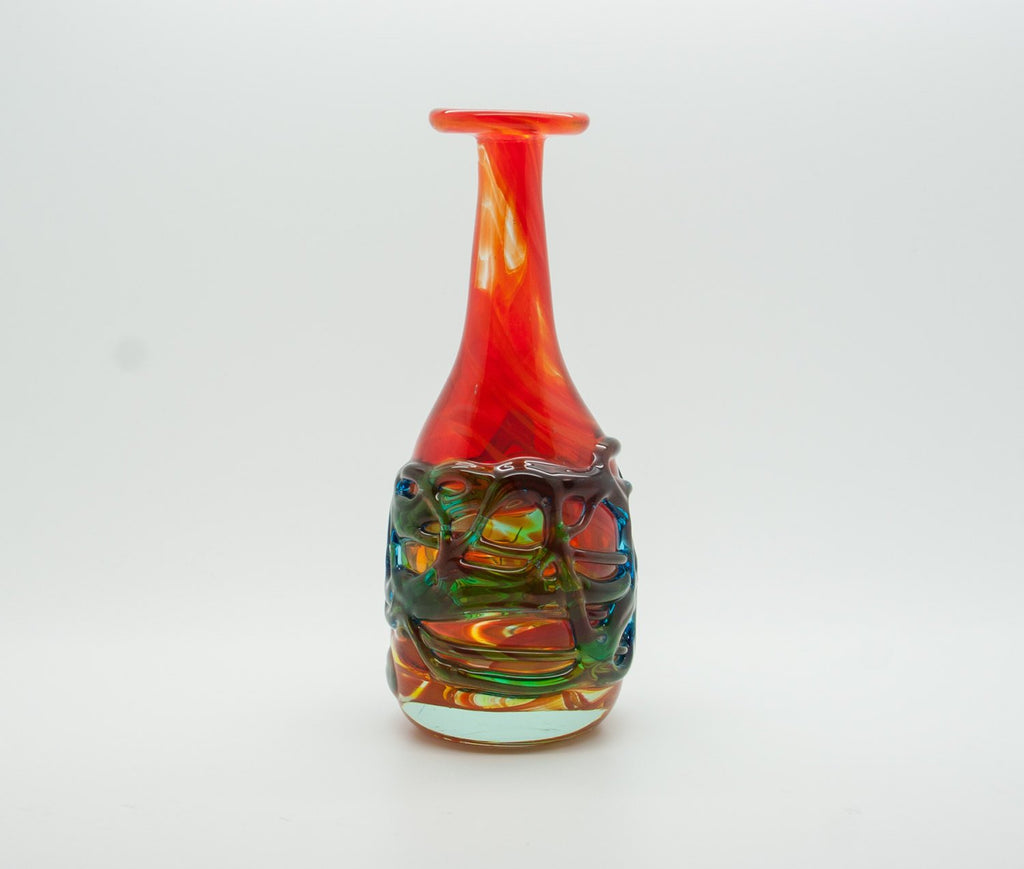 MICHAEL HARRIS Mdina Studio Orange Green Blue Webbed Glass Vase - Mollaris.com