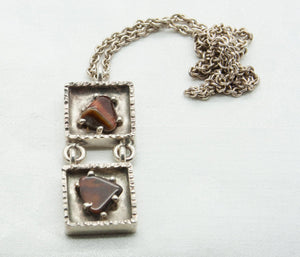 JØRGEN JENSEN Modernist Brutalist Silvered Pewter Tigers Eye Pendant Necklace - Mollaris.com