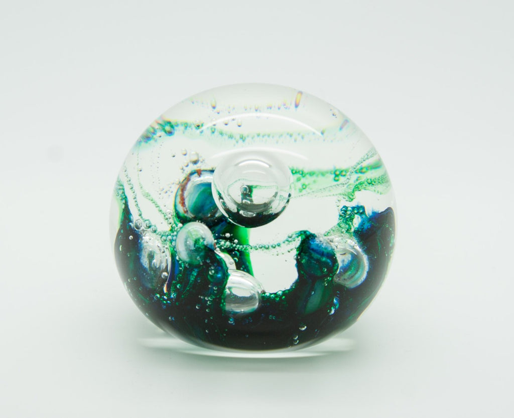 SELKIRK Studio ELECTRA Swirls Bubbles Glass Paperweight - Mollaris.com