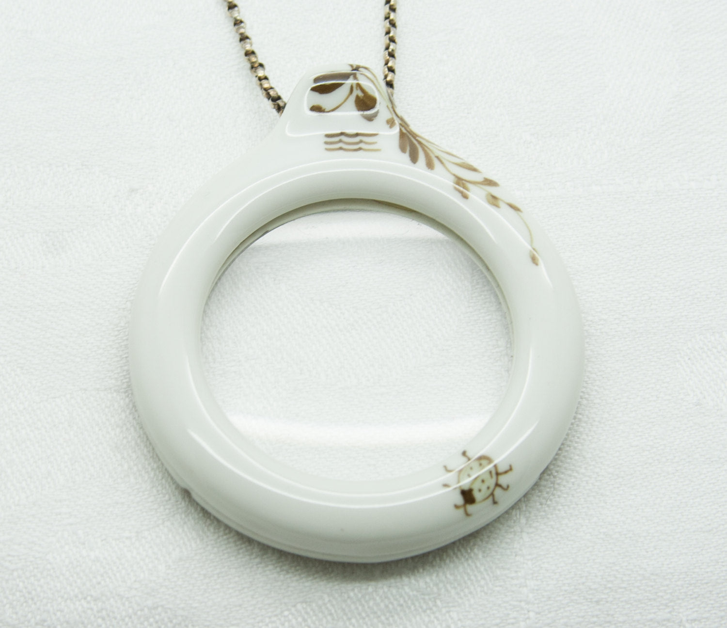 Royal Copenhagen Brown Fluted Loupe Porcelain Sterling Silver Pendant Necklace - Mollaris.com