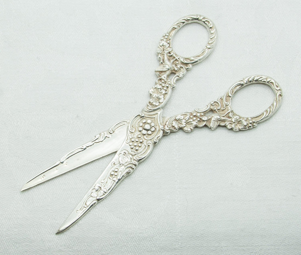 Victorian 19thC. Grapes Foliage & Birds Solid Silver (830S) Grape Scissors - Mollaris.com