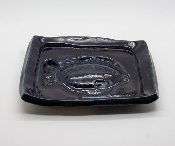JØRGEN FINN PETERSEN Dark Blue Glazed Stoneware Tray - Mollaris.com