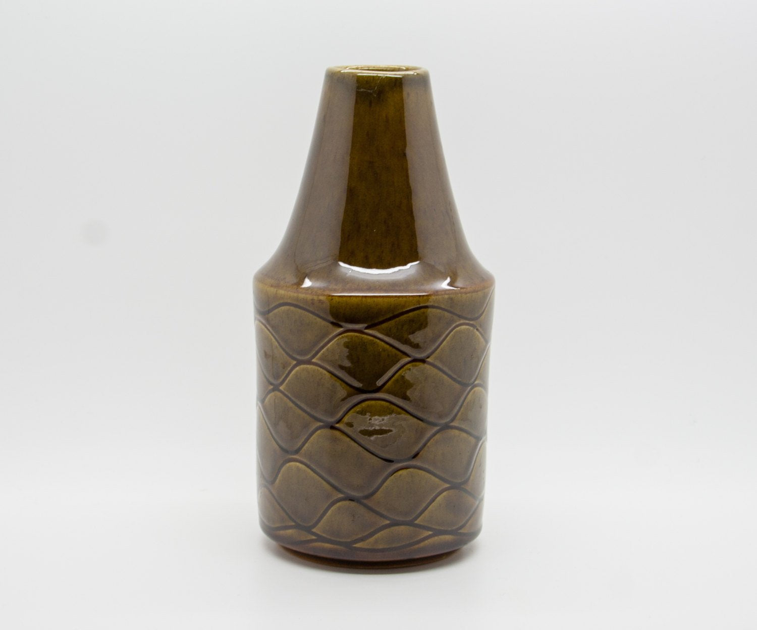 JACOB BANG Hegnetslund Green Brown Glazed Ceramic Vase - Mollaris.com