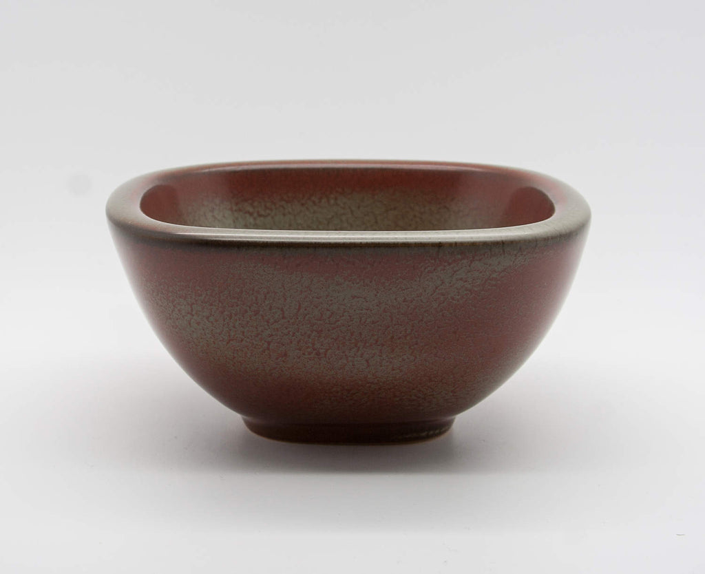 VALDEMAR PETERSEN Bing & Grøndahl Squarish Green and Red Glazed Stoneware Bowl - Mollaris.com