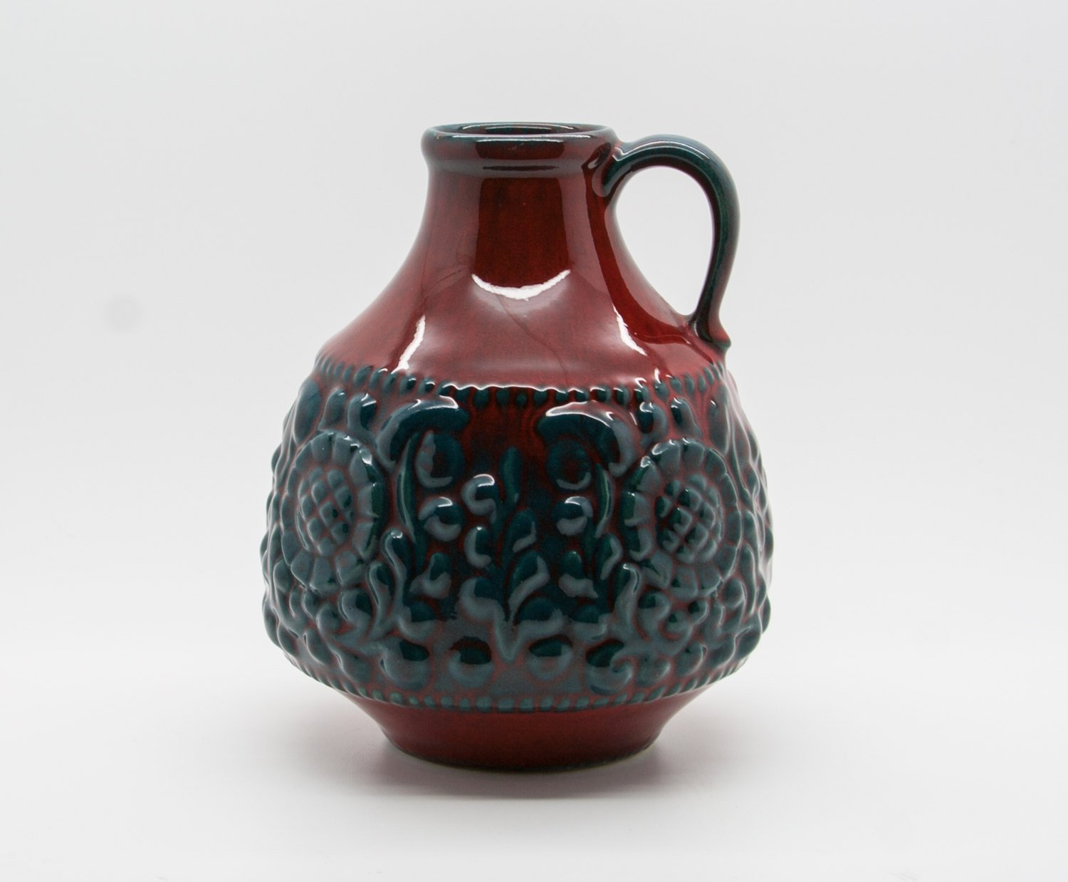 JASBA Red and Green Glazed Fat Lava Ceramic Vase - Mollaris.com