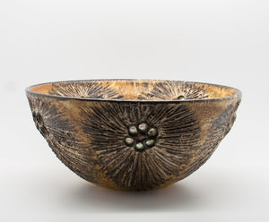 JETTE HELLERØE Large Abstract Sunflower Decorated Ceramic Bowl - Mollaris.com