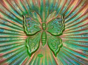 NORTHWOOD Carnival Glass Green BUTTERFLY Bonbon Card Tray Threaded Back - Mollaris.com