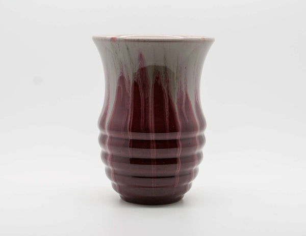 MICHAEL ANDERSEN Art Nouveau Free Flow Red White Glazed Ribbed Stoneware Vase - Mollaris.com