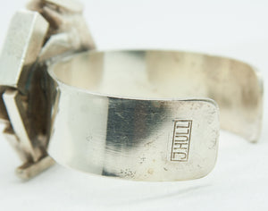 JACOB HULL Brutalist Silver Plated Precious Stone Sculptural Bangle - Mollaris.com