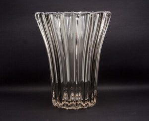PIERRE D'AVESN Large Ribbed Crystal Glass Vase - Mollaris.com
