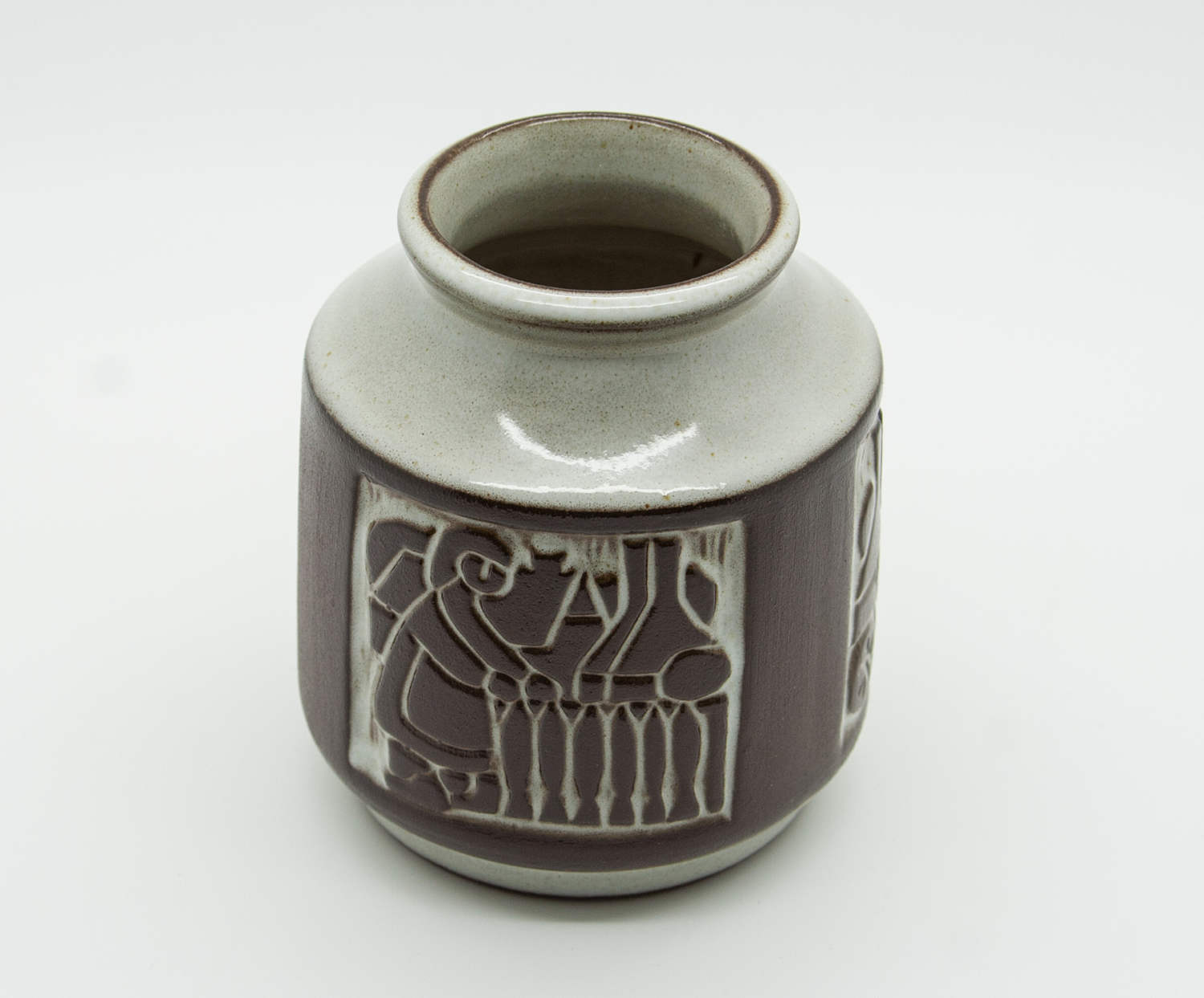 MICHAEL ANDERSEN Small Grey Brown Glazed Vase - Mollaris.com