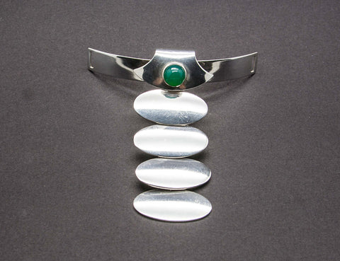 NIELS ERIK FROM Modernist Cabochon Solid Sterling Silver Necktie Choker Collar (925S) - Mollaris.com