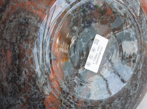 SIDSE WERNER Holmegaard TROLDGLAS Large Orange Black Marbled Crystal Glass Table Lamp - Mollaris.com