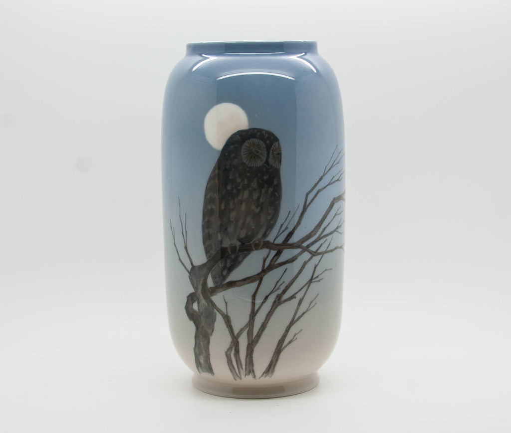 Royal Copenhagen Large Decorated Porcelain Owl Moon Vase - Mollaris.com