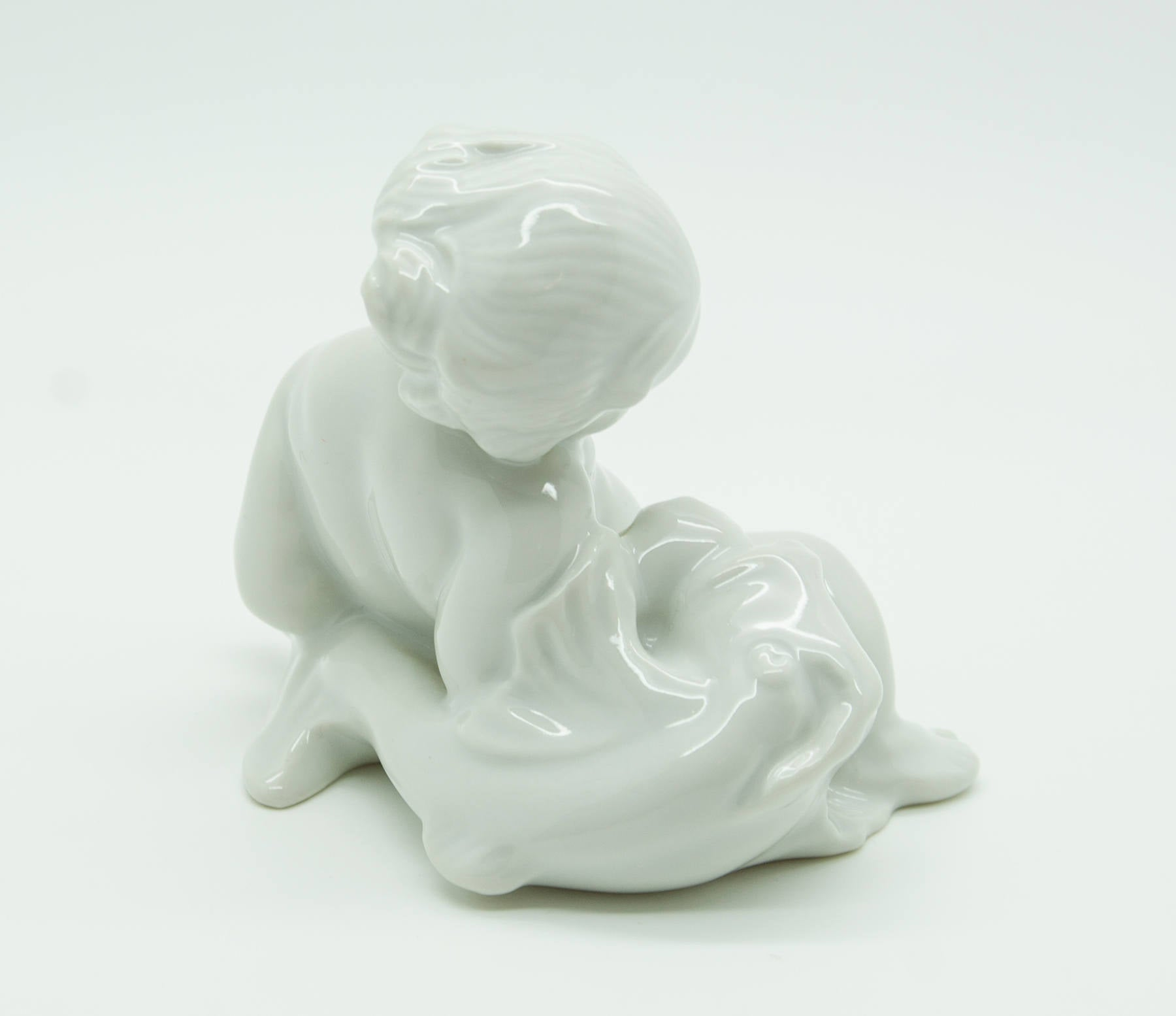 KAI NIELSEN Bing & Grøndahl Sea Child with Fish Porcelain Figurine - Mollaris.com