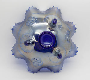 NORTHWOOD Carnival Glass Electric Icy Deep Blue WISHBONE Footed Bowl - Mollaris.com