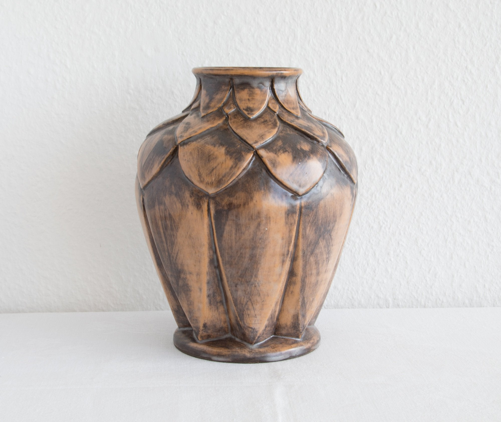 OVE RASMUSSEN Large Unique Brown Glazed Ceramic Vase - Mollaris.com