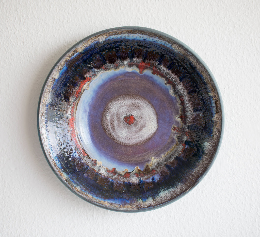 JETTE HELLERØE Monumental Abstract Sgrafitto Multi-colored Glazed Stoneware Charger - Mollaris.com