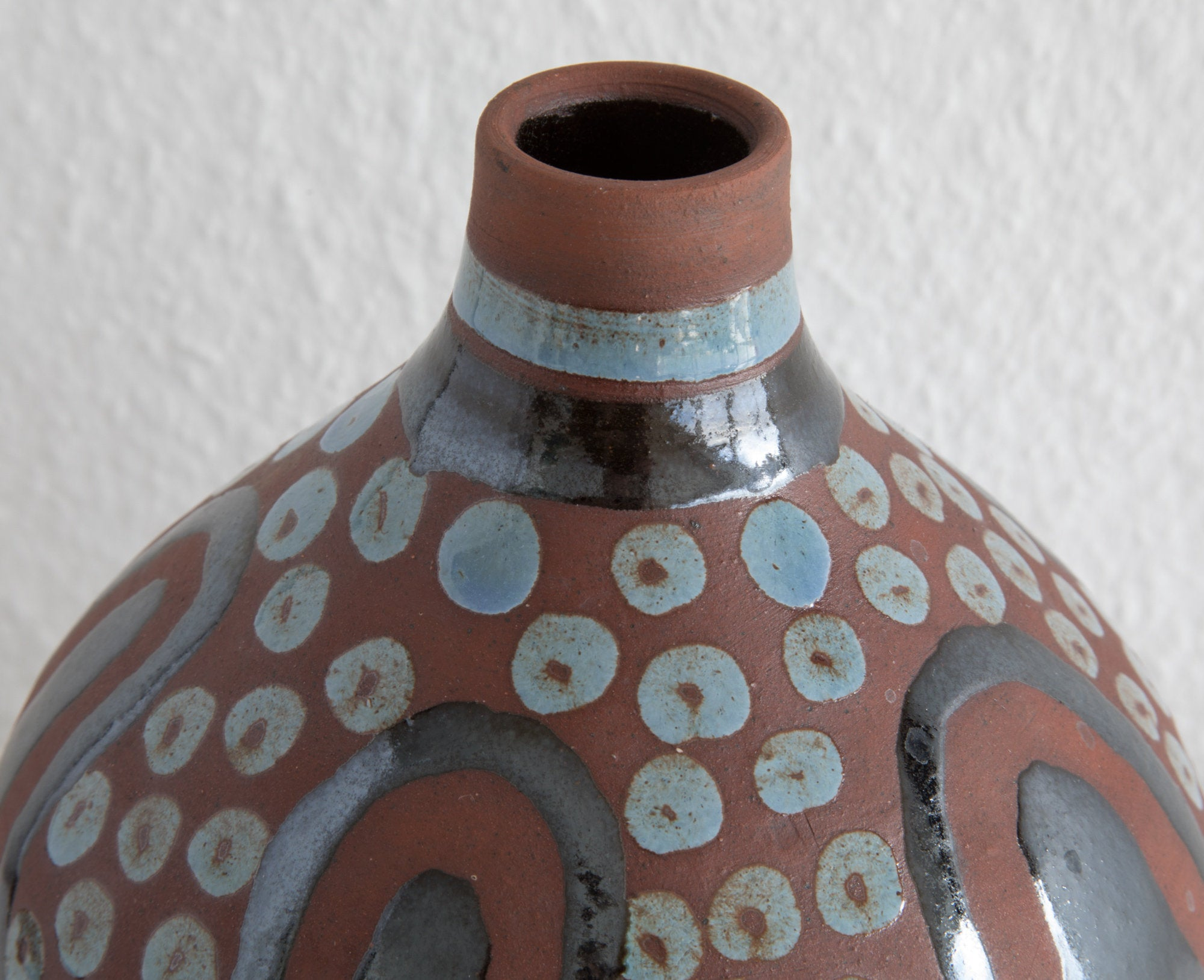 OSA Aase Frederiksen Abstract Grey Black Decorated Ceramic Vase - Mollaris.com