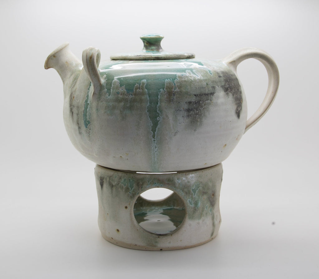 WÜRTZ Ceramics Contemporary Tableware Green Grey Beige Crystal Glazed Stoneware Teapot + Warmer - Mollaris.com