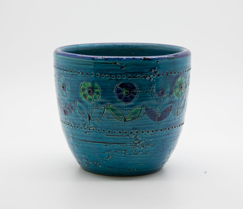 Bitossi ALDO LONDI Blue Ceramic Planter Cache Pot Flower - Mollaris.com
