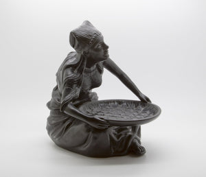 SØHOLM Black Terracotta Rice Cleaning Lady Sculpture - Mollaris.com