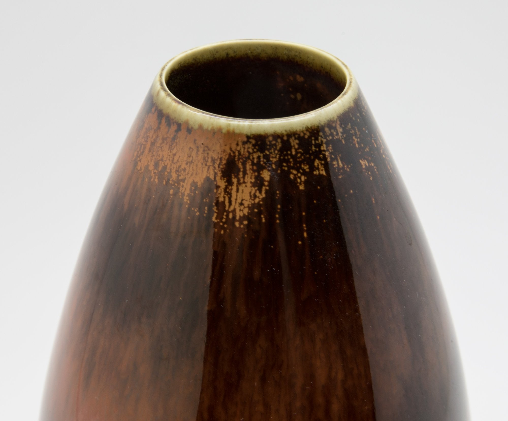 Rörstrand CARL HARRY STÅLHANE Brown Orange Glazed Stoneware Vase - Mollaris.com