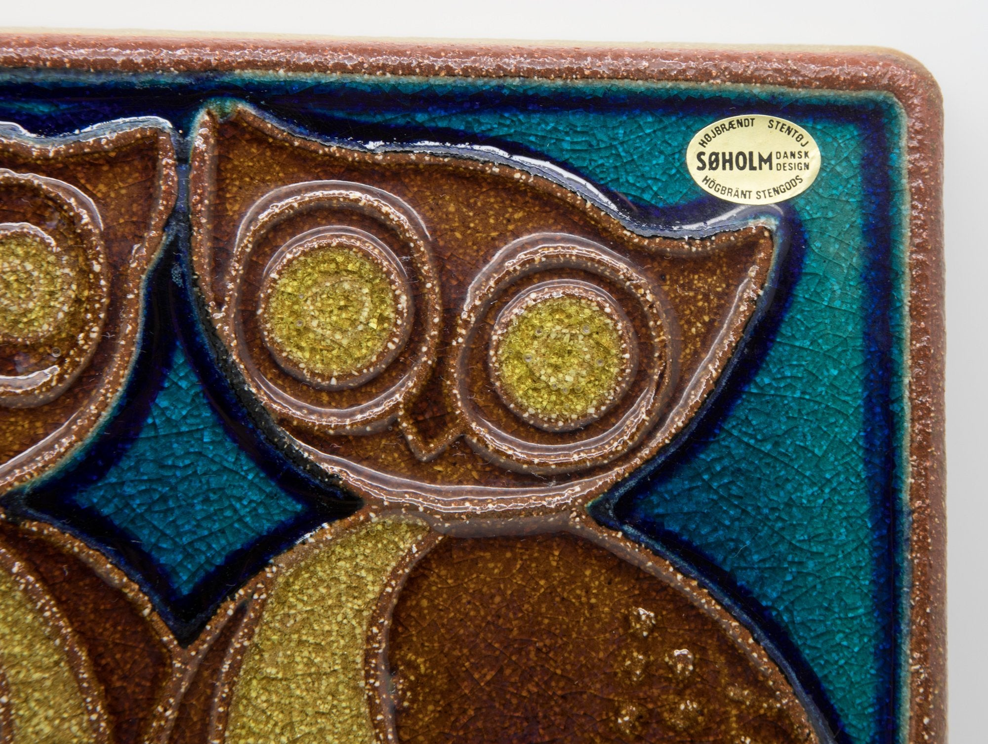 JOSEPH SIMON Søholm Two Owls Stoneware Wall Plaque - Mollaris.com