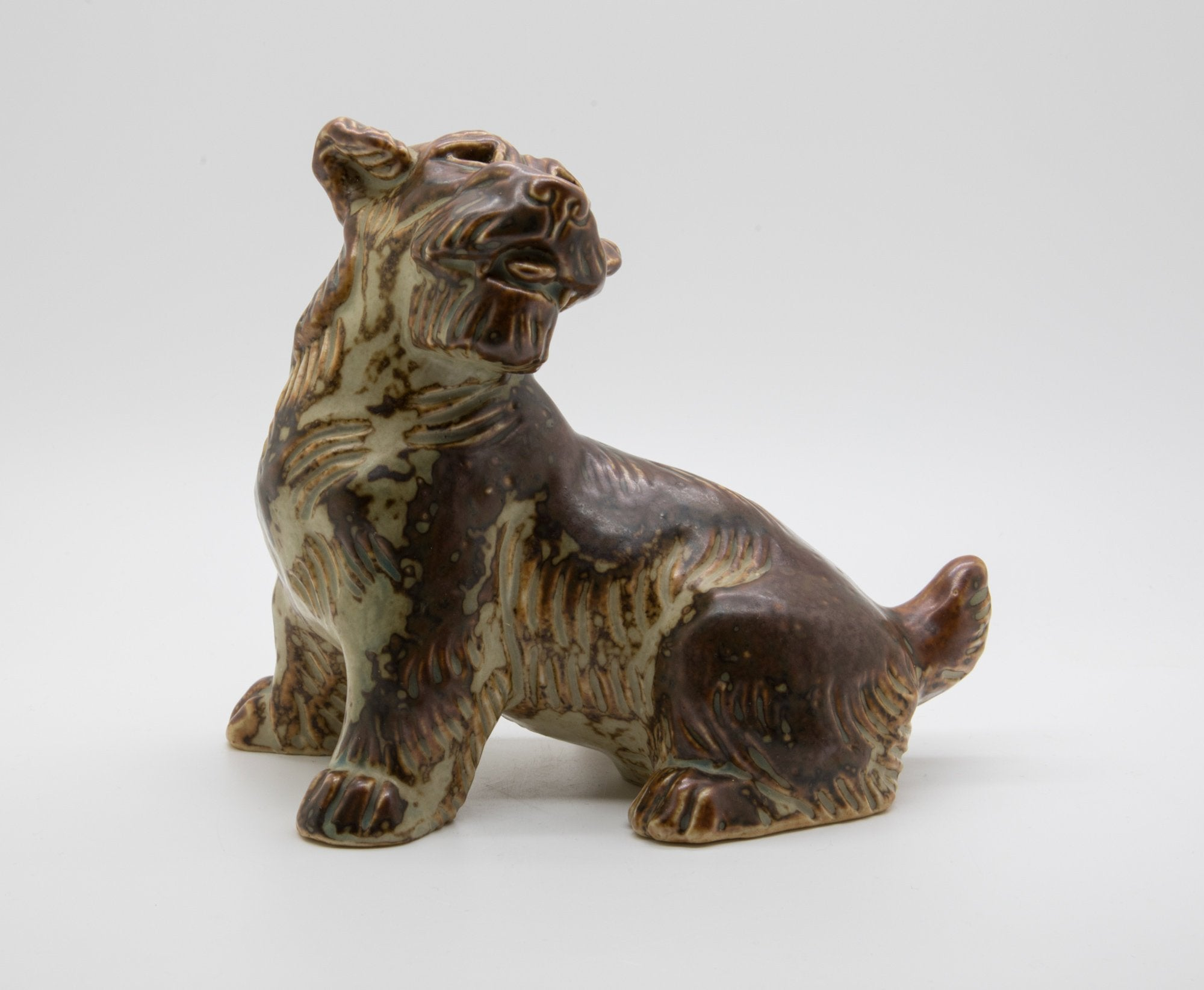 Royal Copenhagen KNUD KYHN Sung Glazed Stoneware Terrier Dog Figurine # 20129 - Mollaris.com