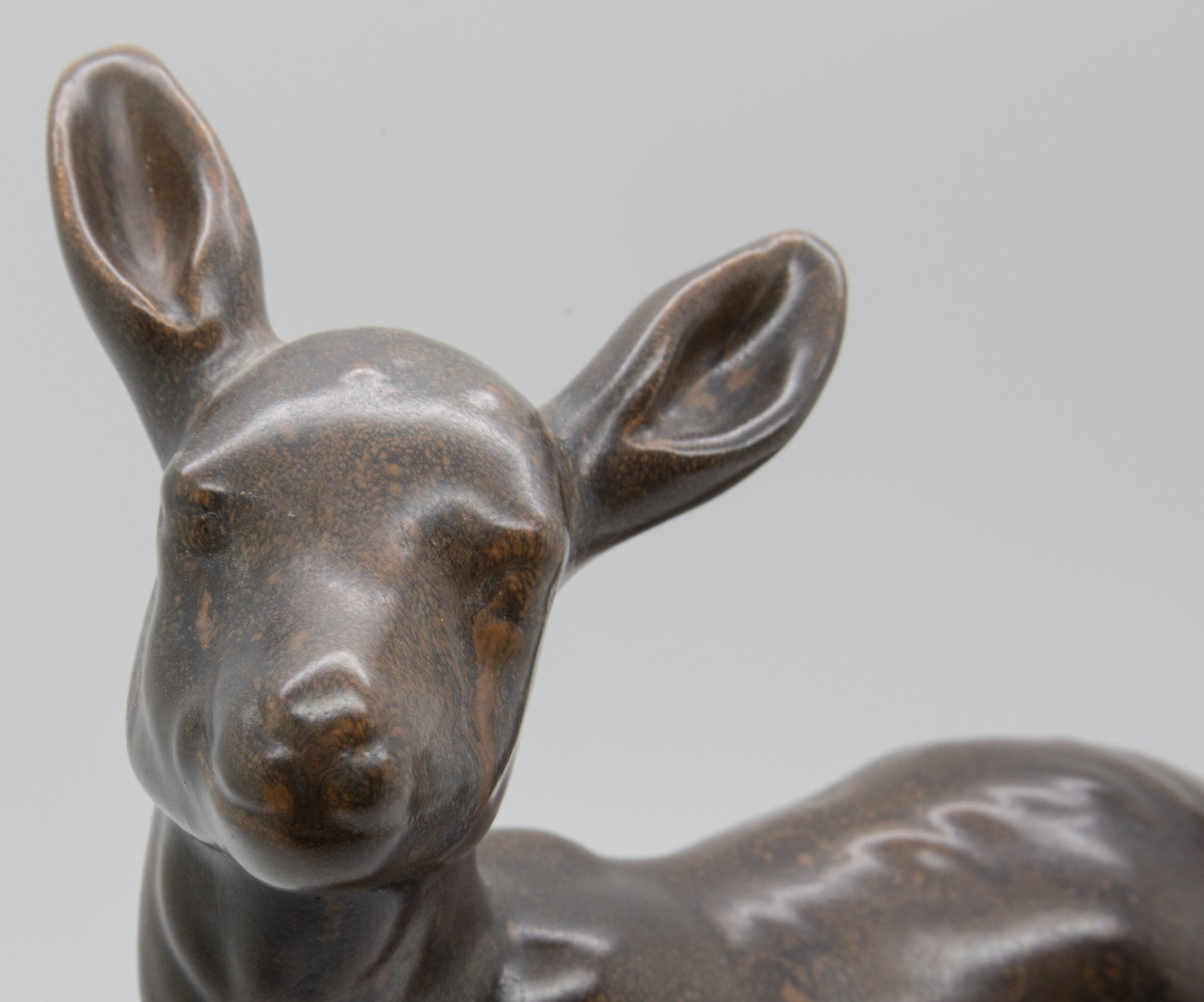 PETER HALD Brown Glazed Stoneware Fawn Sculpture - Mollaris.com