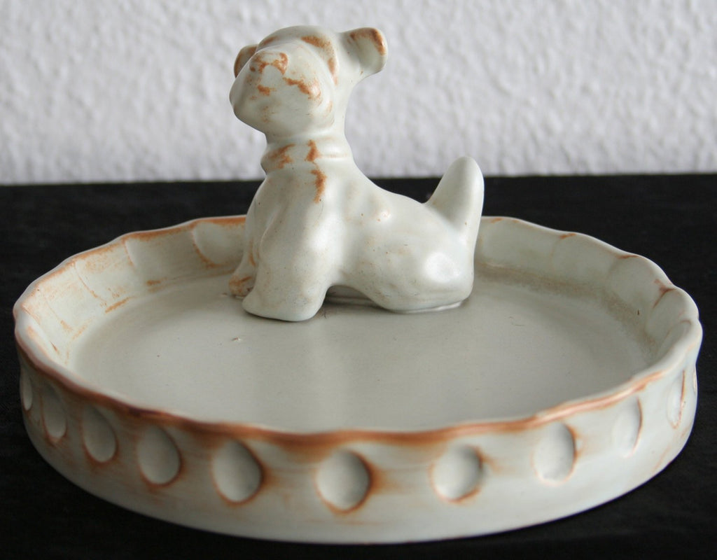 Upsala Ekeby EINAR LUTERKORT Beige Glazed Scottie Dog Stoneware Ashtray - Mollaris.com