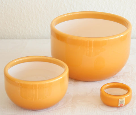MICHAEL BANG Kastrup Holmegaard PALET Caramel (Umbria) Cased Glass Bowl Set - Mollaris.com