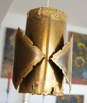 HOLM SØRENSEN Brutalist Flame Cut Brass Pendant Light - Mollaris.com