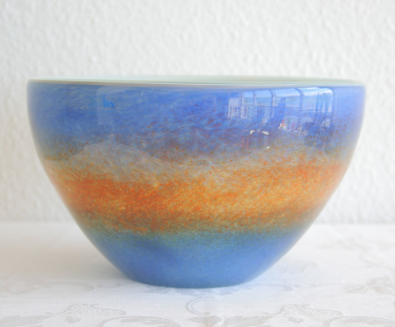 VILNIAUS STIKLO STUDIJA Contemporary Studio Art Blue Orange Glass Bowl - Mollaris.com