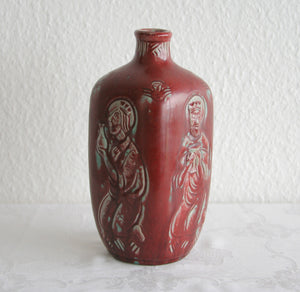 Royal Copenhagen JAIS NIELSEN Oxblood Square Bottle Vase - Mollaris.com