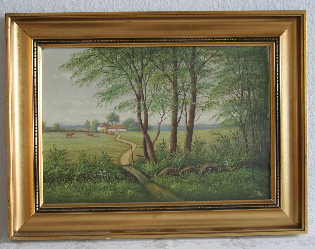 TORSTEN PALM Farm Country Side Cows Hay Painting - Mollaris.com