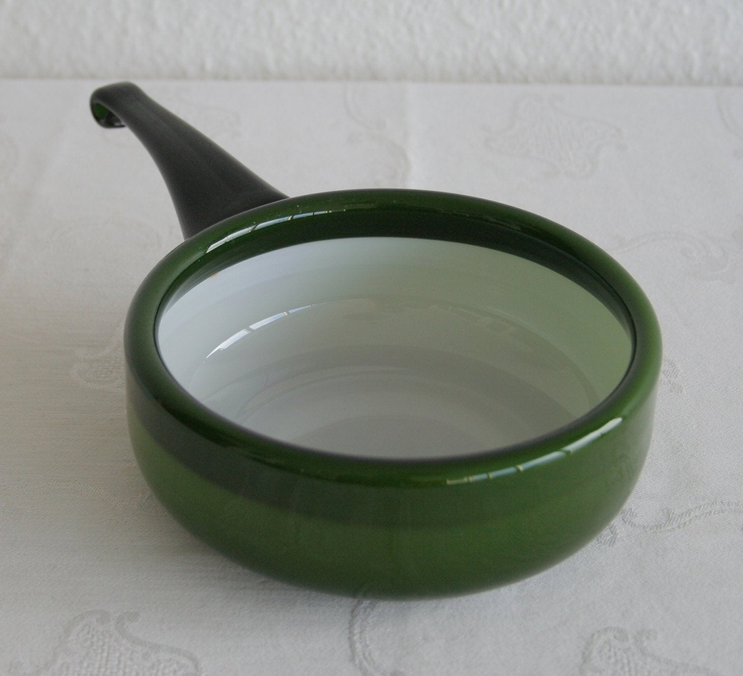 MICHAEL BANG Kastrup Holmegaard PALET Large Emerald Green Handled Cased Glass Bowl - Mollaris.com