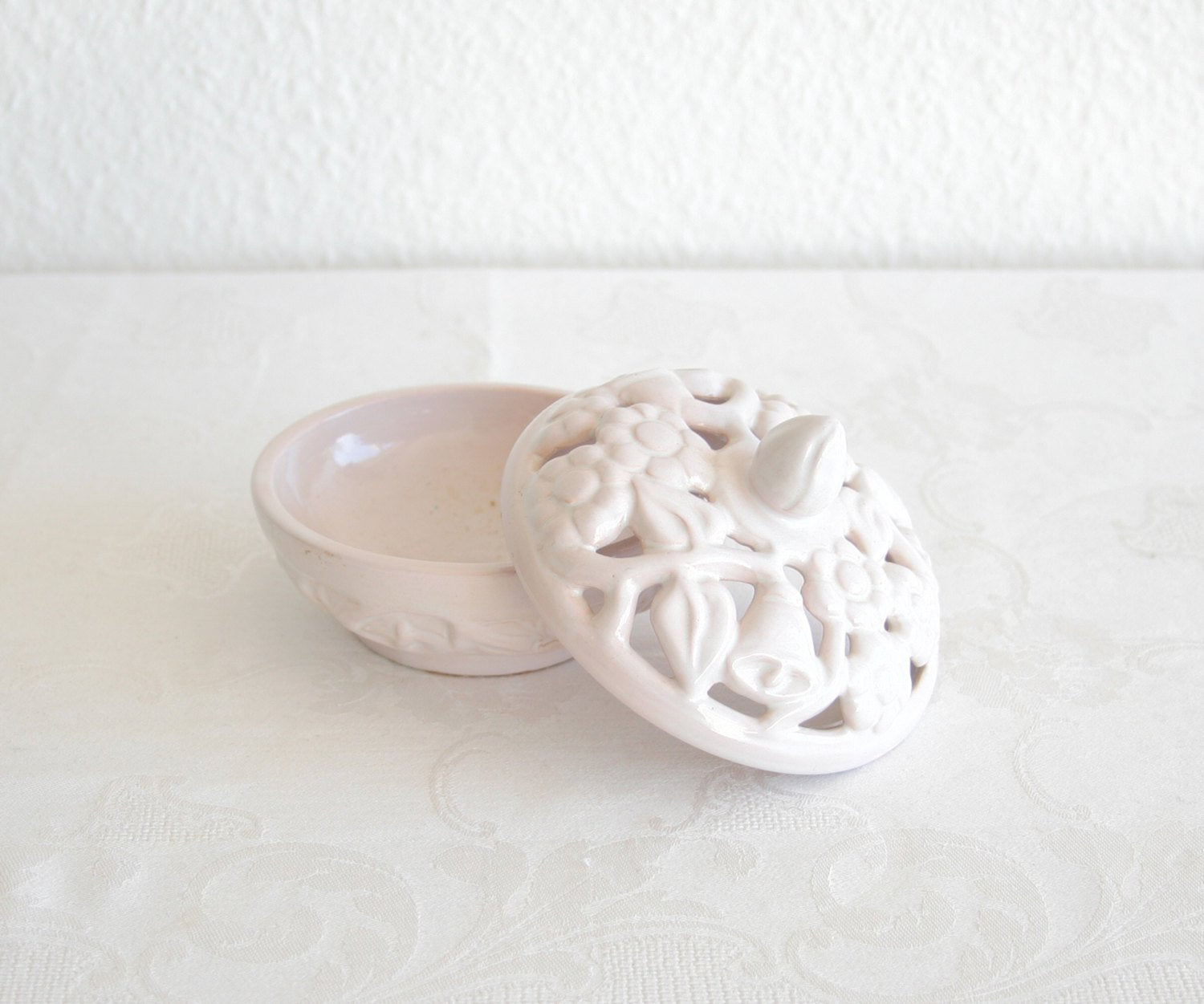 L. HJORTH Round White Glazed Openwork Ceramic Lidded Box - Mollaris.com
