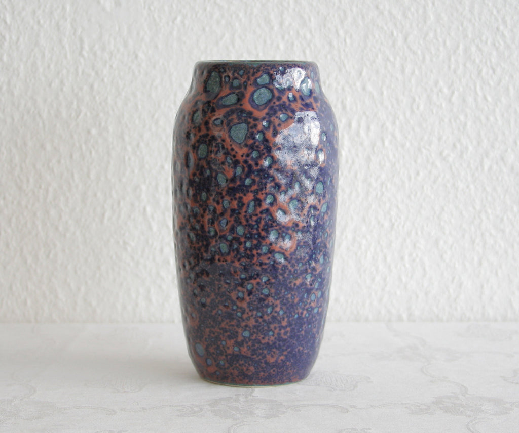 SCHEURICH Grey-Green Blue Purple Glazed Fat Lava Ceramic Vase - Mollaris.com