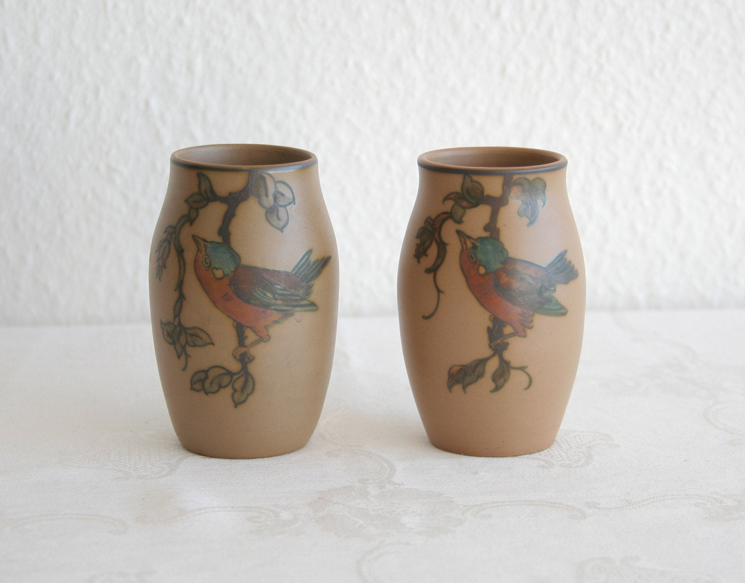 Pair of L. HJORTH Small Bird Decorated Ceramic Vases - Mollaris.com
