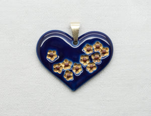 JENS WINDFELD HANSEN Royal Copenhagen Blue Decorated Porcelain Heart Pendant - Mollaris.com