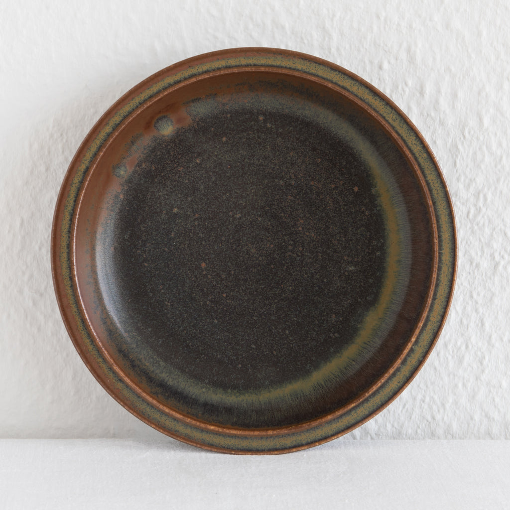 SAXBO Red Brown Olive Green Harefur Glazed Stoneware Bowl / Tray - Mollaris.com