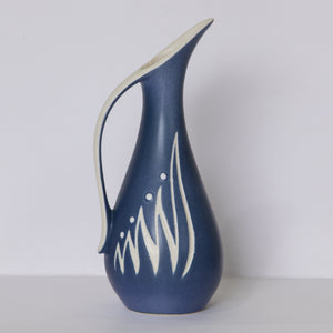 SØHOLM Small Abstract Blue and White Ceramic Pitcher Vase - Mollaris.com