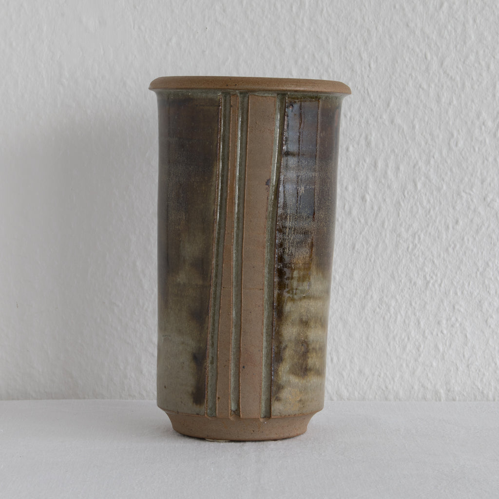 WÜRTZ Ceramics Large Brown Glazed Stoneware Vase - Mollaris.com