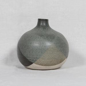 WÜRTZ Ceramics Contemporary Bulbous Grey-Patterned Glazed Stoneware Vase - Mollaris.com